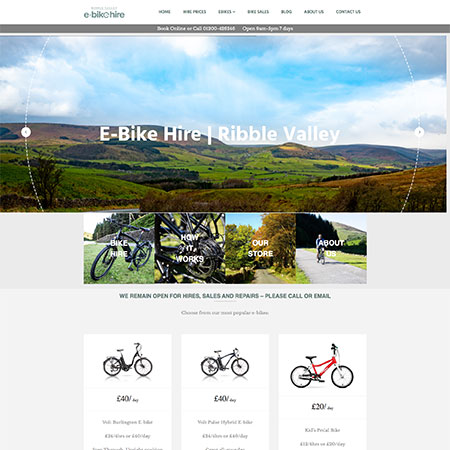 ribble valley ebike hire website design